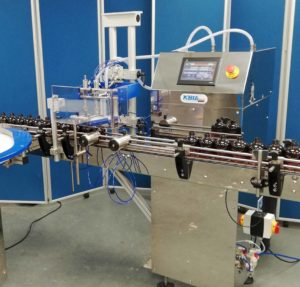 AF0020 Automatic 2 Head Liquid filling machine with Dipping nozzles.